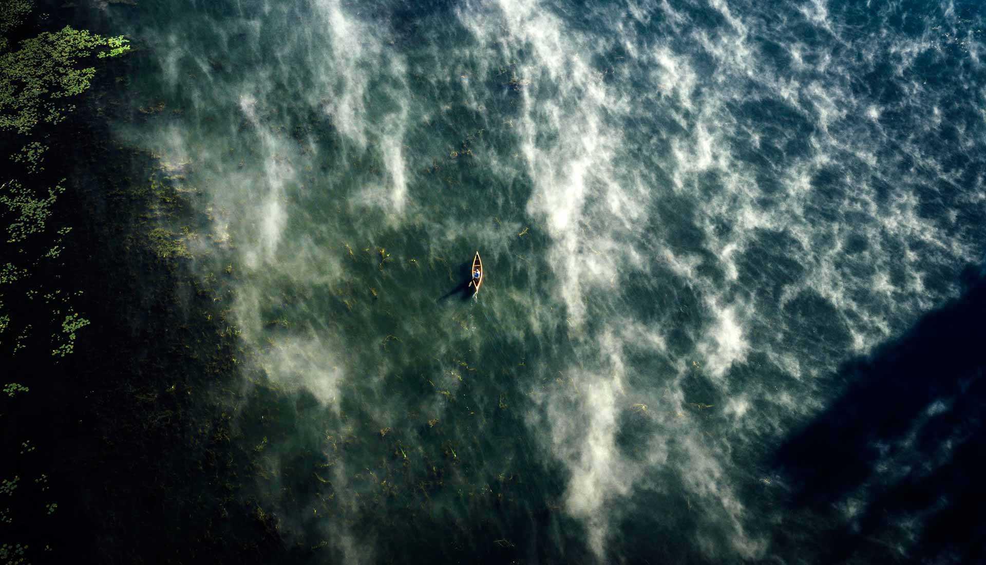 Aerial photo of a canoe (Photo: Destination Ontario)