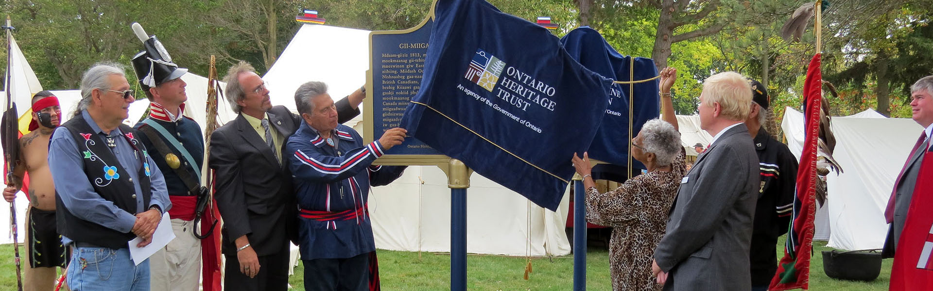 Plaque unveiling commemorating the Battle of Moraviantown, 2013