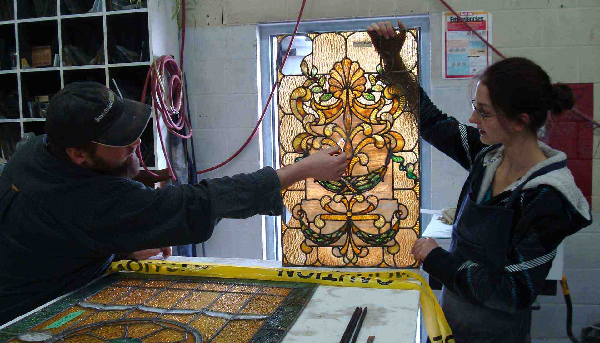 Restoring the stained-glass windows at Fulford Place, Brockville