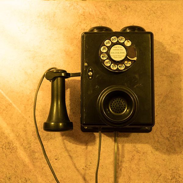 Vieux téléphone au théâtre Elgin