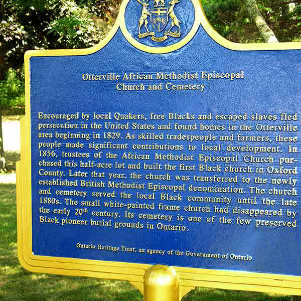 Provincial plaque commemorating the Otterville African Methodist Episcopal Church and Cemetery