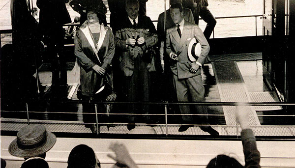 The Prince of Wales aboard the Magedoma