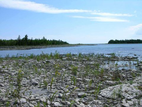 Rugged shoreline of the Clarke Property