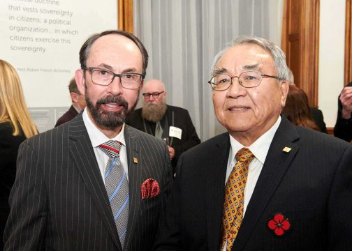 Board member John Ecker (left) with Chair Harvey McCue at the Lieutenant Governor's Ontario Heritage Awards ceremony in February 2020