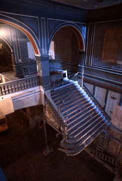 Installation of the restored grand staircase, 1980s