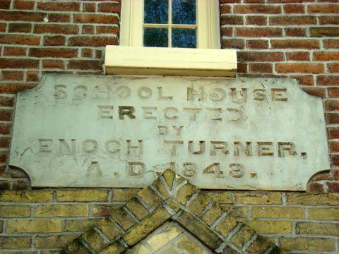 Enoch Turner Schoolhouse, Toronto (date stone)