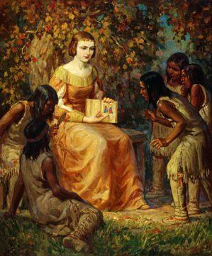 Exh Champlain Hist Madame Champlain Teaching Children