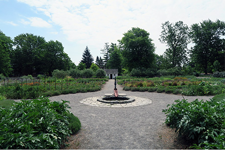 Restored kitchen garden at Hamilton's Dundurn Castle National Historic Site.