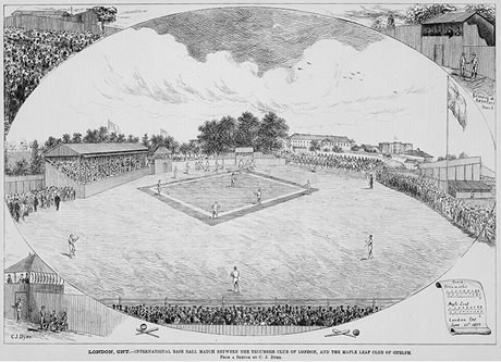 International match between the Tecumseh Club of London and the Maple Leaf Club of Guelph, 1877 (Photo courtesy of Library and Archives Canada. Credit: C.J. Dryer, Canadian Illustrated News)