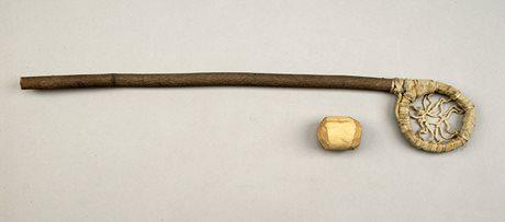 Lacrosse stick and ball. Anishnaabe (Ojibwa). Lac Seul Reserve, Ontario (Photo courtesy of the Canadian Museum of History collection)