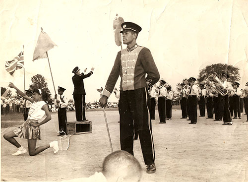 North Buxton Maple Leaf Band at a tattoo hosted in North Buxton, 1960