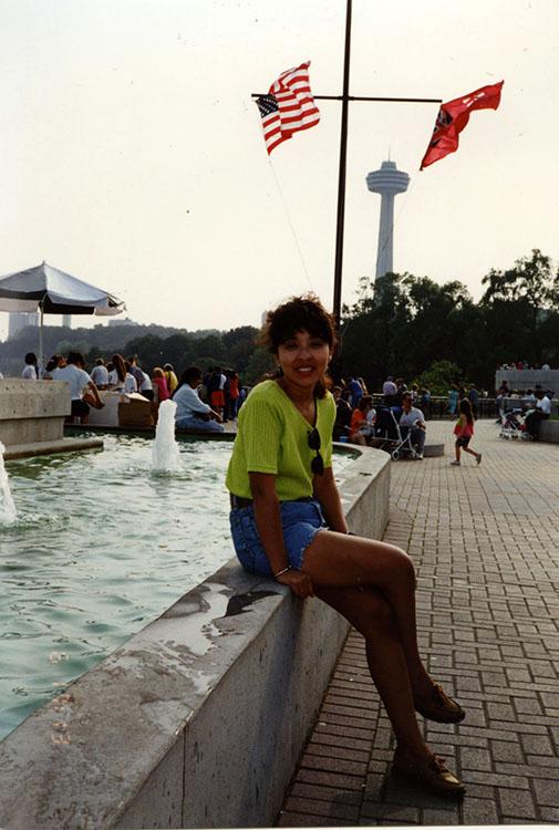Isabel Reid at Niagara Falls, 1989