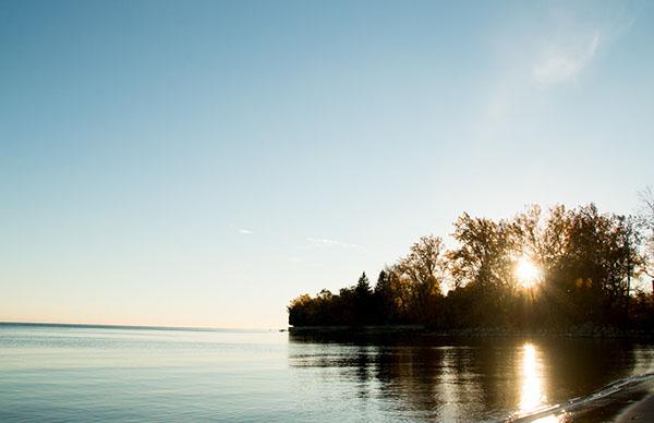 Île dans un lac