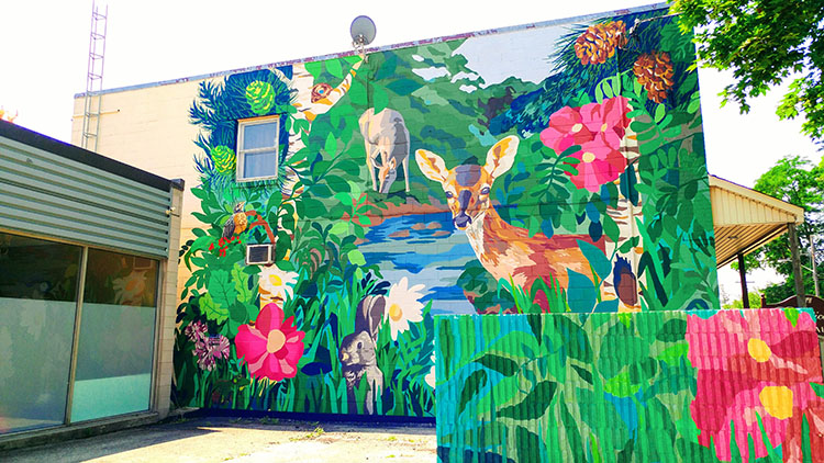 Creekside Eastern Gateway mural, by Emily Harrison and Mural Routes 2014 summer team, Scarborough