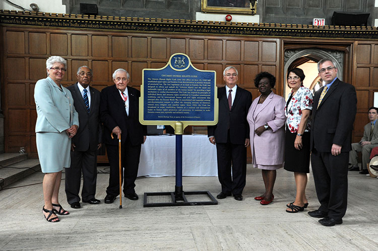 Unveiling of the provincial plaque commemorating the Ontario Human Rights Code (2012)