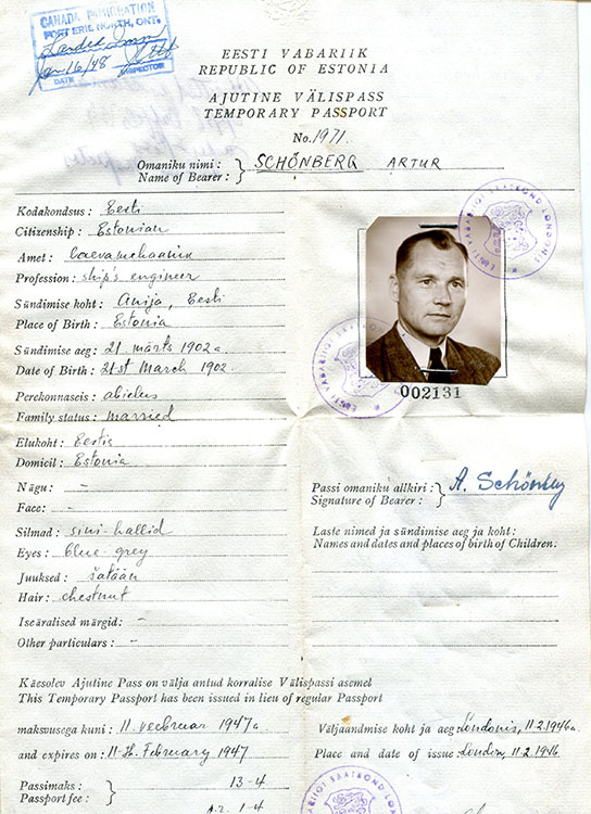 Temporary passport of Arthur Schönberg