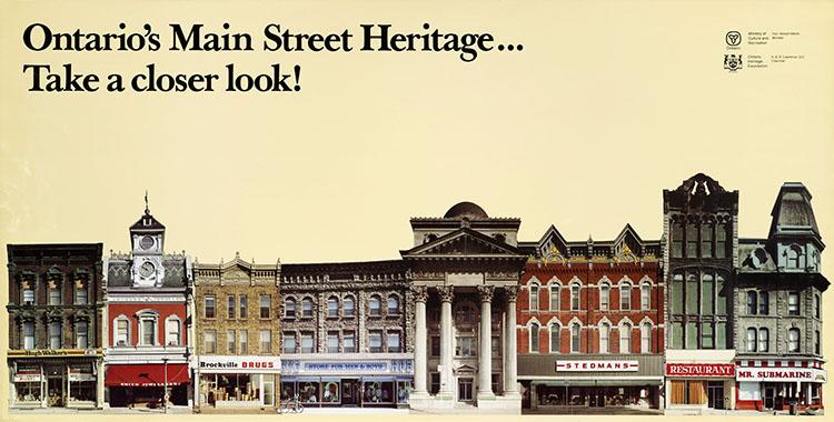 Affiche de la Fondation du patrimoine ontarien datant de 1978 : Découvrez votre patrimoine dans les rues de l'Ontario!