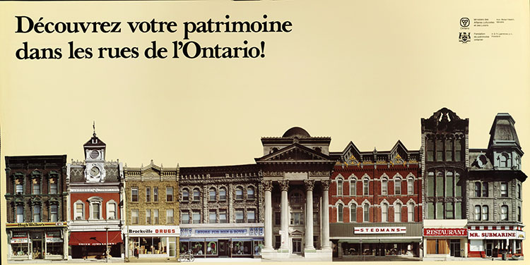 1978 Ontario Heritage Foundation poster: Ontario's Main Street Heritage ... Take a closer look! (French version)