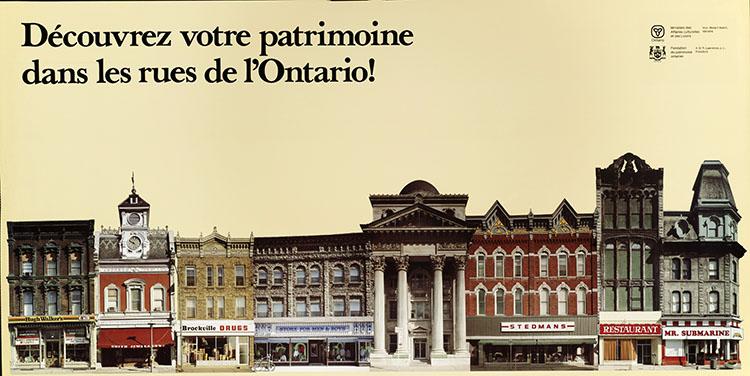 1978 Ontario Heritage Foundation poster: Découvrez votre patrimoine dans les rues de l'Ontario! (Version française)