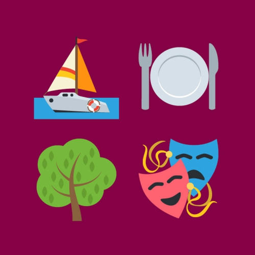 (Graphic) Sailboat, plate, tree, theatre masks