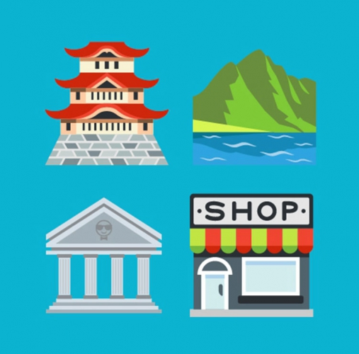Emoji: Japanese castle, outdoor scene, historic building and shop