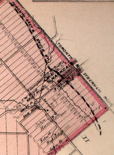 Street plan of the Village of Markdale, 1880