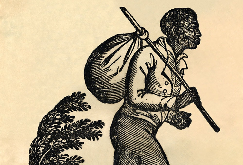 "Often considered a symbol of the Underground Railroad, this image was actually used by slaveholders. It appeared in newspapers and on posters advertising rewards for the capture of human ""property."""