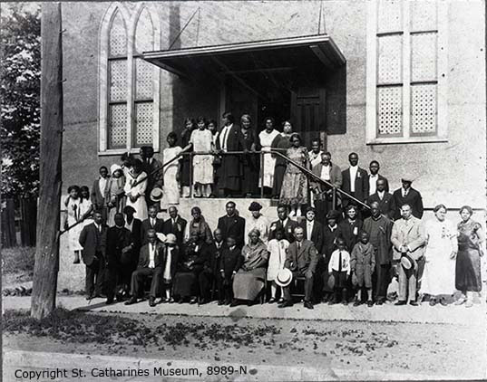 Congregation standing outside of Salem Chapel in St. Catharines, c. 1920s.