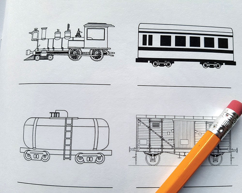 Pencil drawings of trains