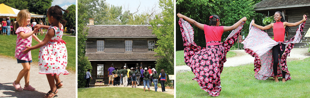 Youth dancing at Emancipation Day, people visiting Uncle Tom's Cabin Historic Site