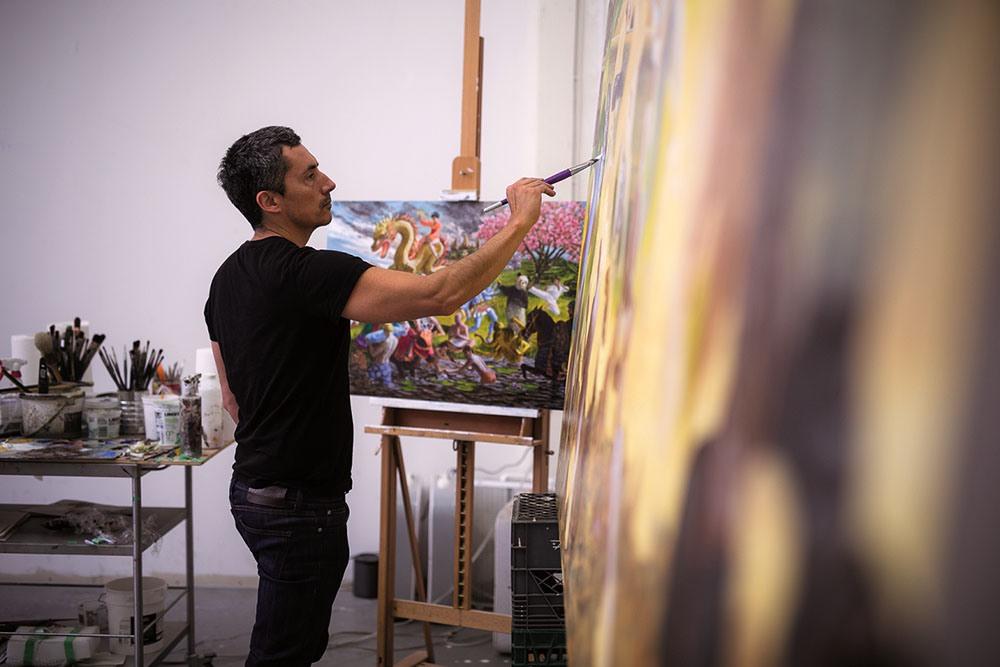 Kent Monkman in studio